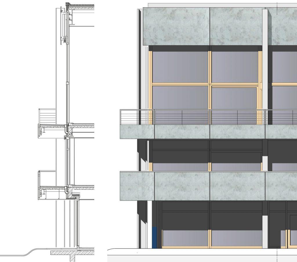 Fassade Schnitt und Ansicht Grundsanierung Bundesverfassungsgericht Karlsruhe