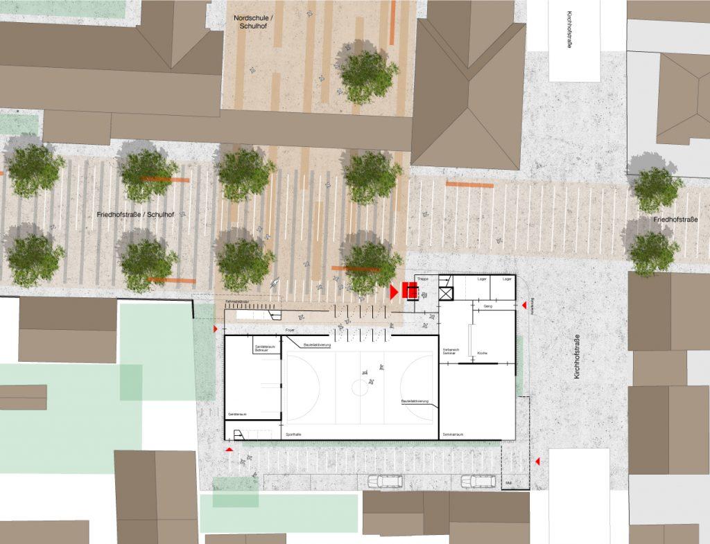 Grundriss EG + Lageplan Neubau Turngemeinde Neureut