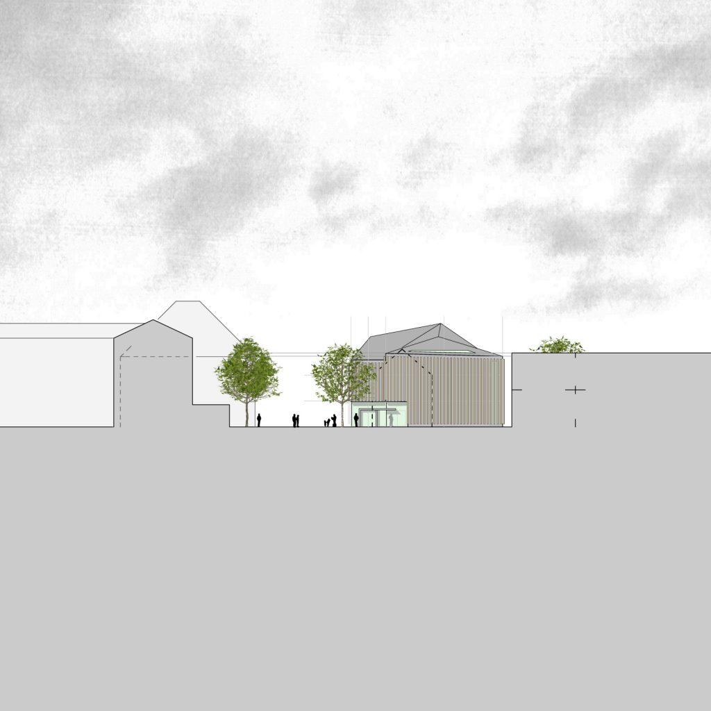 Nordwestansicht Neubau Turngemeinde Neureut