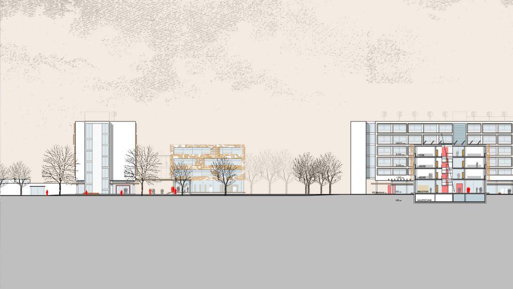Ansicht/Schnitt Erweiterung Heinrich-Hertz-Schule Karlsruhe