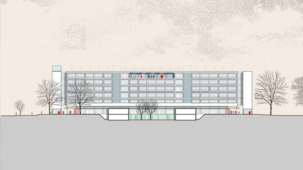 Westansicht Erweiterung Heinrich-Hertz-Schule Karlsruhe
