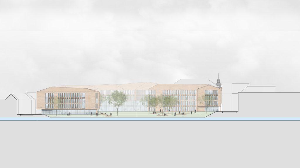 Wettbewerb Neubau Kreishaus Germersheim Ansicht Queich